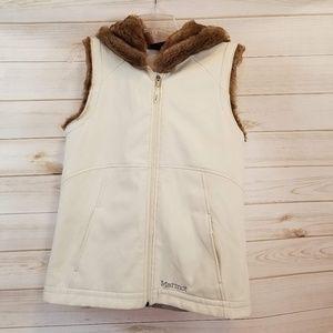 Marmot fur hood lined off white vest size Medium